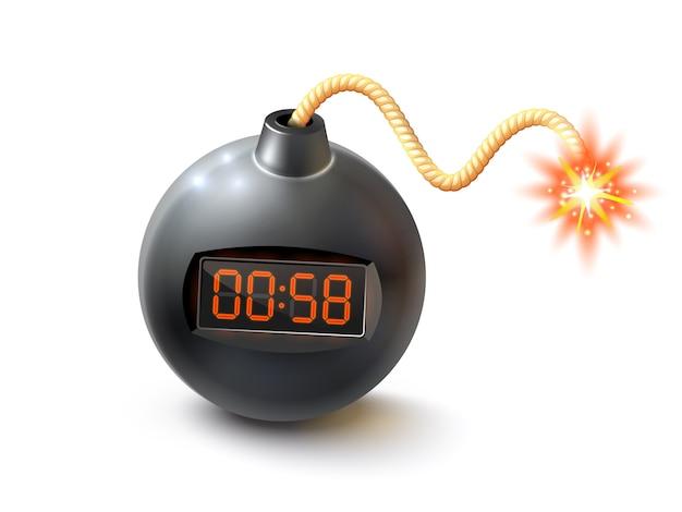 Bombe mit timer-illustration Kostenlosen Vektoren
