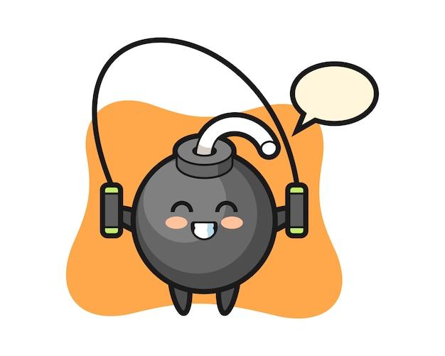Bombencharakter-karikatur mit springseil Premium Vektoren