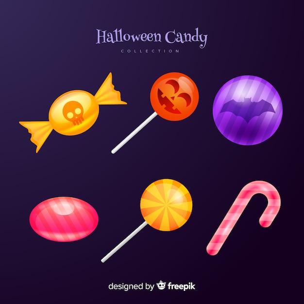 Bonbons und lutscherstock-halloween-süßigkeiten Kostenlosen Vektoren