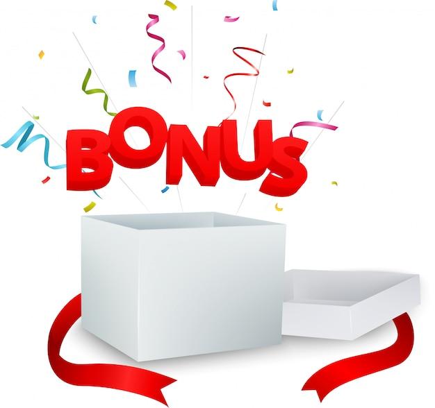 Bonus aus der box mit bunten konfetti Premium Vektoren