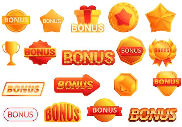 Bonus icons set, cartoon-stil Premium Vektoren