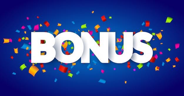 Bonuszeichenbuchstaben 3d dekor mit konfetti. word bonus design hintergrundkarte. banner konfetti dekoration Premium Vektoren