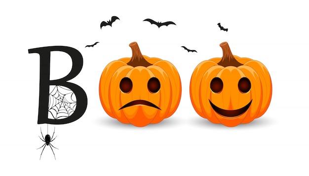 Boo. briefgestaltung mit lächelndem kürbischarakter. orange kürbis mit lächeln für ihr design für den feiertag halloween. Premium Vektoren