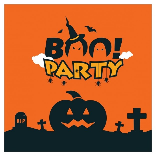 Boo-partei halloween-schablone Kostenlosen Vektoren