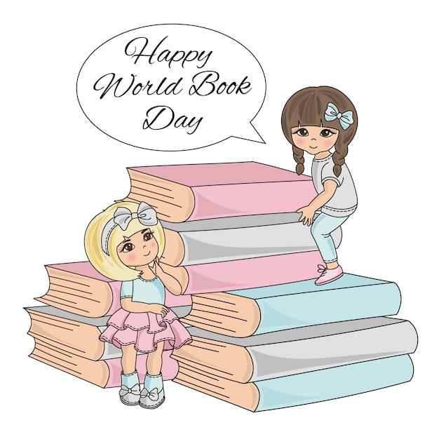 Book child kinder am weltbuchtag Premium Vektoren
