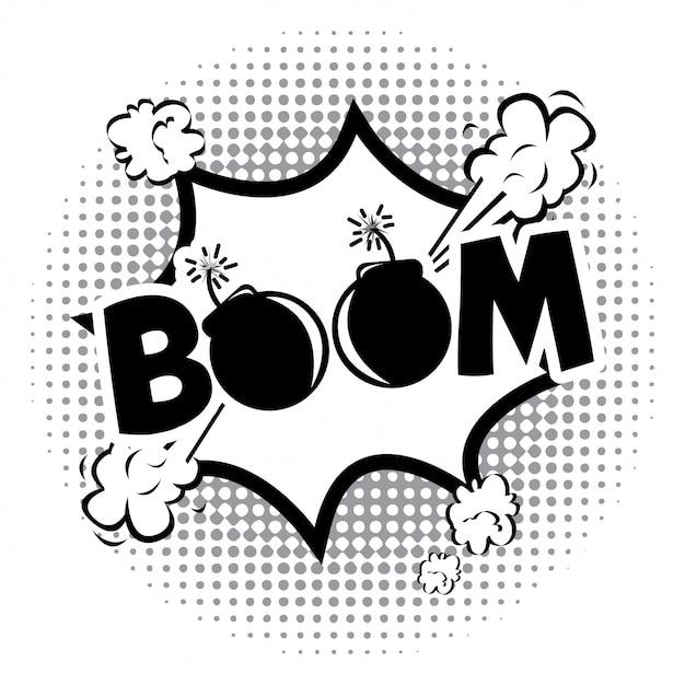 Boom-comics-symbol über gepunktete hintergrund-vektor-illustration Premium Vektoren