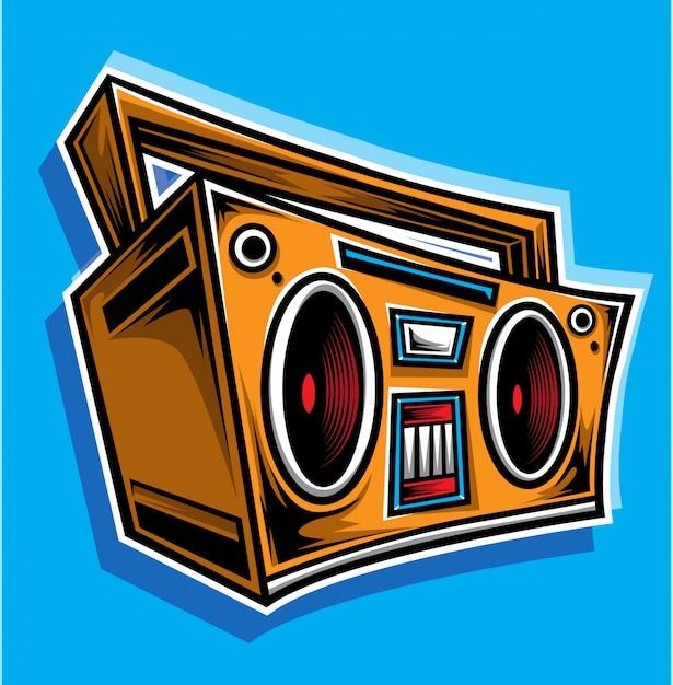 Boombox-karikaturvektor Premium Vektoren