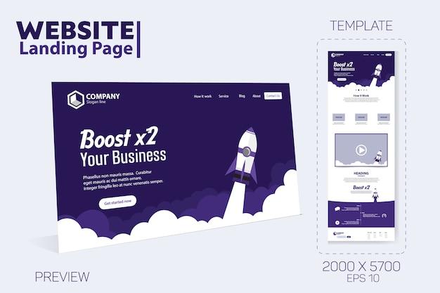 Boost business website landing page vektor vorlage Premium Vektoren