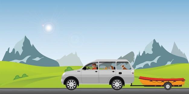 Boot schleppendes auto auf der straße, die entlang an einem sonnigen frühlingstag im feiertag läuft Premium Vektoren