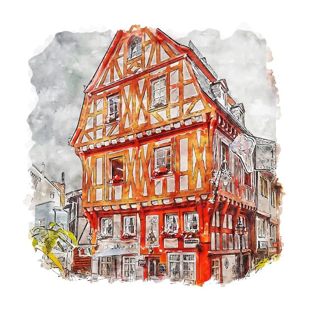 Boppard rheinland deutschland aquarell skizze hand gezeichnete illustration Premium Vektoren
