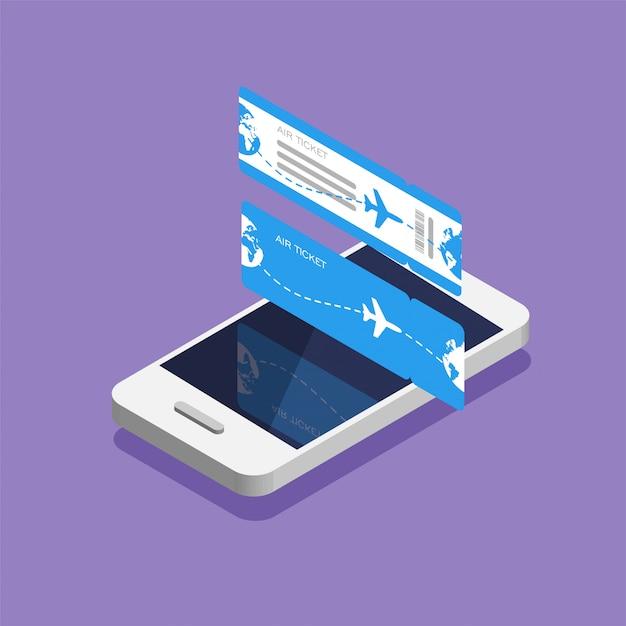 Bordkarte und smartphone der fluggesellschaft im isometrischen trendstil. buchen sie einen flugzeugsitz online per app. tickets für die vorder- und rückseite. illustration. Premium Vektoren