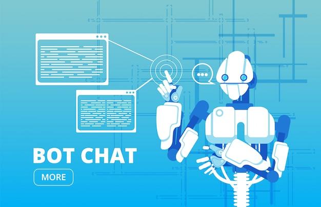 Bot-chat. geschäftsfahne der virtuellen unterstützung des roboteranhänger-chat-bot Premium Vektoren