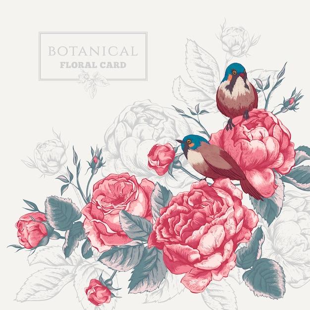 Botanische blumenkarte mit rosen und vögeln Premium Vektoren
