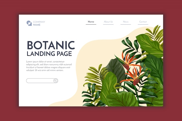 Botanische landing page Kostenlosen Vektoren
