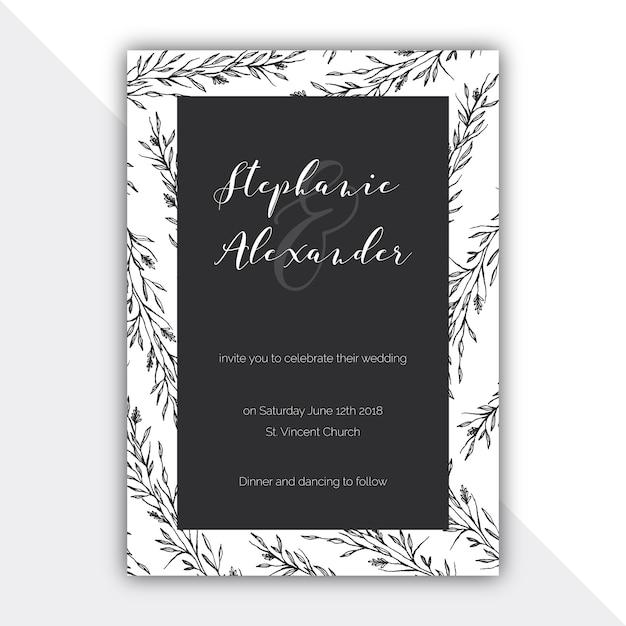 Botanische Schwarz Weiss Hochzeitskarte Download Der Kostenlosen Vektor