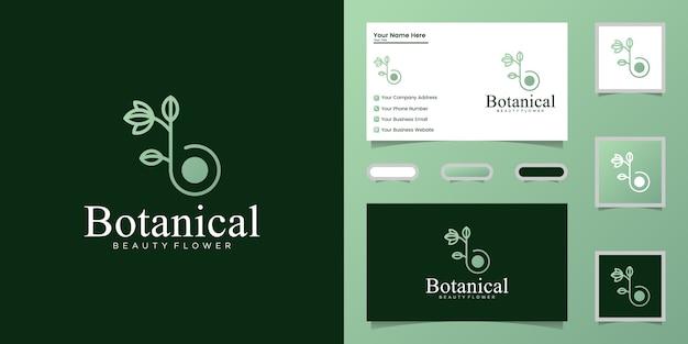 Botanische strichzeichnungen des buchstabens b, logoentwurf und visitenkarte Premium Vektoren