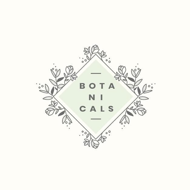 Botanischer stil abzeichen design vektor Kostenlosen Vektoren