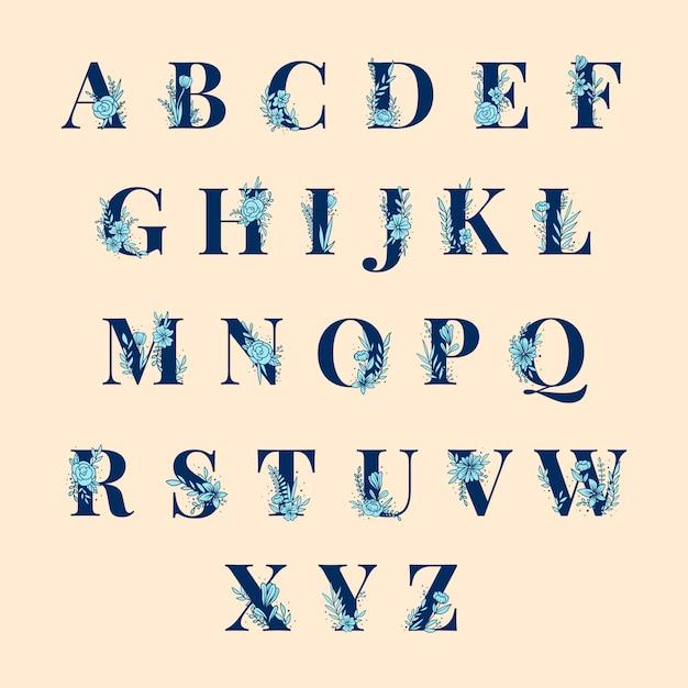 Botanisches alphabet großbuchstaben-vektorsatz Kostenlosen Vektoren