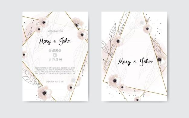 Botanisches hochzeitseinladungskarten-schablonendesign, weiße und rosa blumen. Premium Vektoren