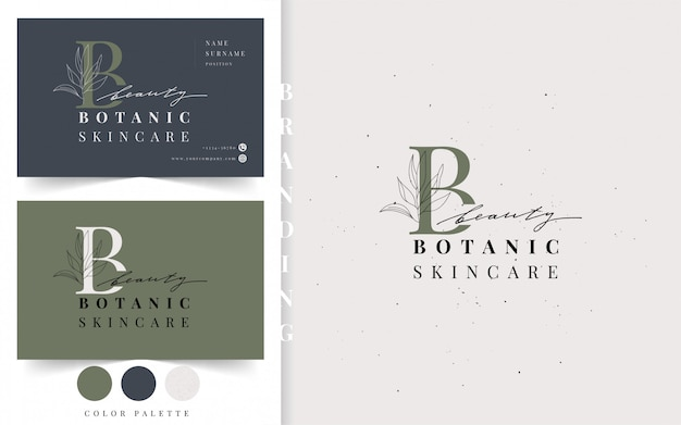 Botanisches logo. beauty visitenkartenvorlage. Premium Vektoren