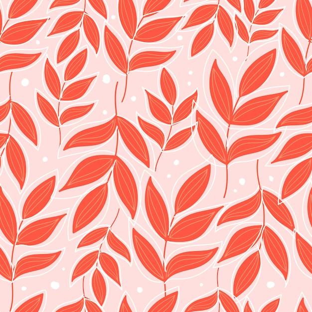 Botanisches nahtloses muster mit blumen auf pastellrosa hintergrund. blätter und blüten tapeten. Premium Vektoren