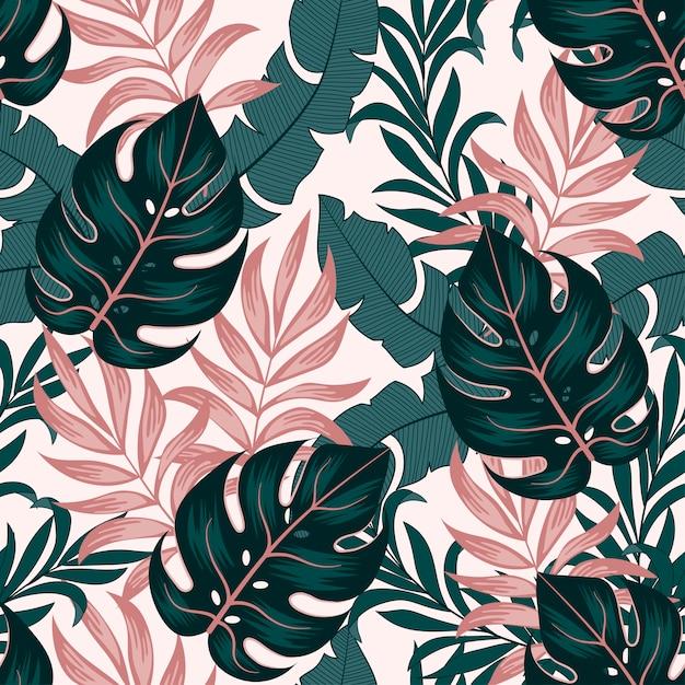 Botanisches nahtloses tropisches muster mit hellen pflanzen und blättern auf einem hellen hintergrund Premium Vektoren