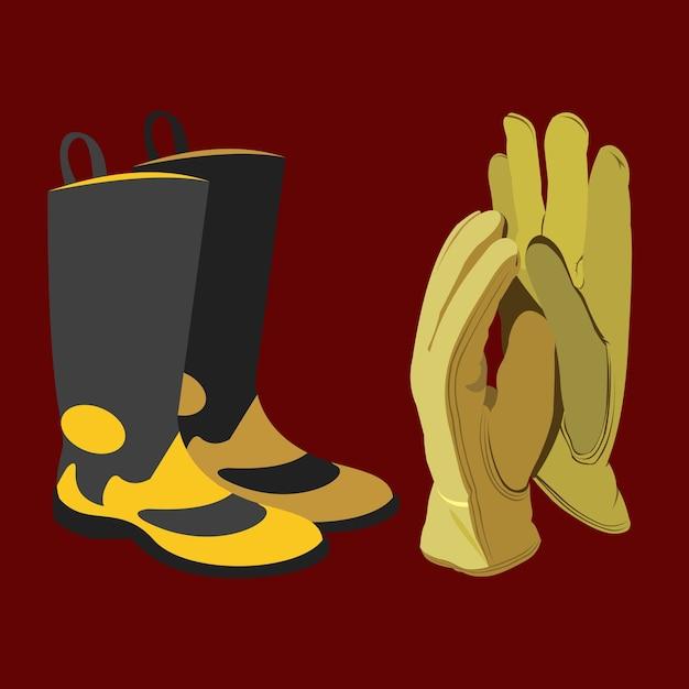 Botas und guantes de protección Premium Vektoren