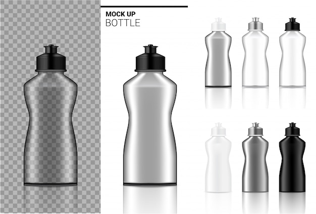 Bottle mock up realistische transparente ampulle aus kunststoff in den farben weiß, schwarz und glas Premium Vektoren