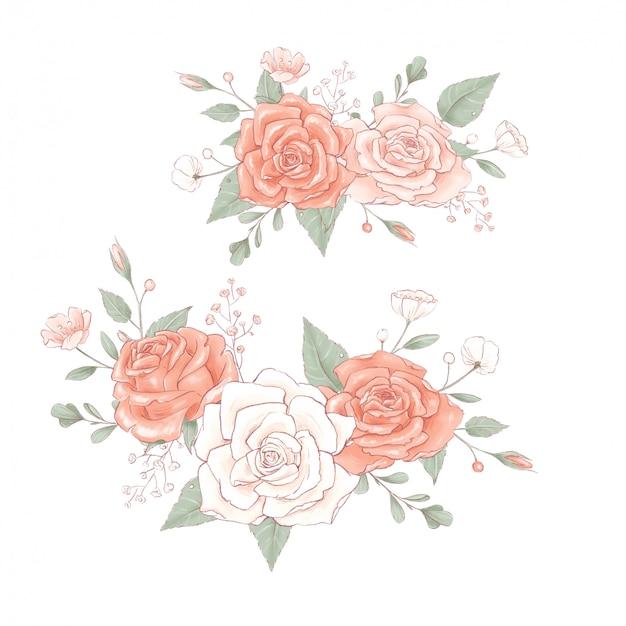 Bouquet ein kranz aus zarten rosen. Premium Vektoren