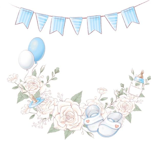 Bouquet kranz neugeborenen babyparty geburtstag. handzeichnung Premium Vektoren
