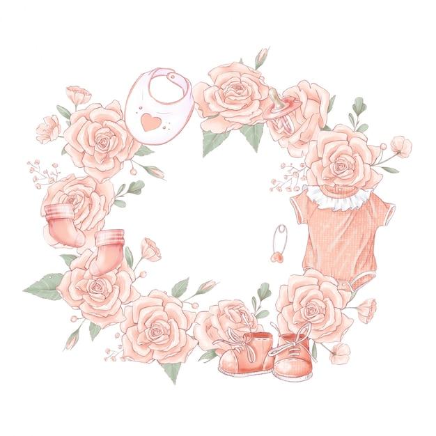 Bouquet kranz neugeborenen babyparty geburtstag. Premium Vektoren