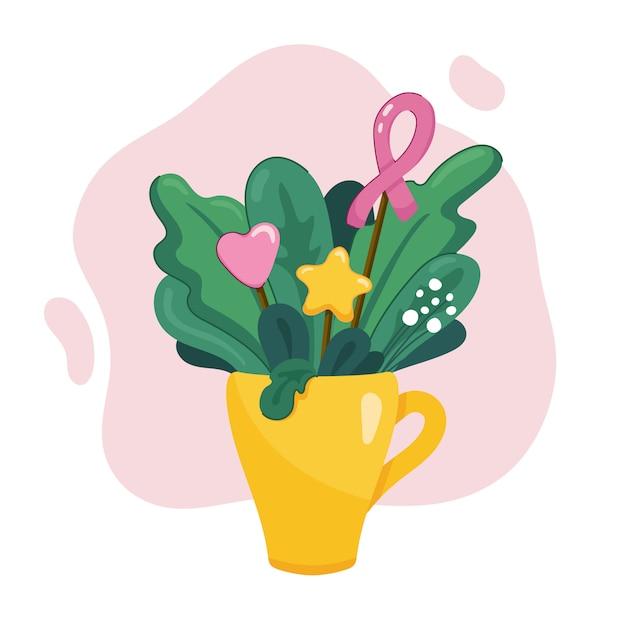 Bouquet von blättern, gras und blumen in der gelben teetasse mit rosa band, herz und stern in der moderne. nette kartenillustration für oktober brustkrebs-bewusstseinsmonat. auf weiß Premium Vektoren