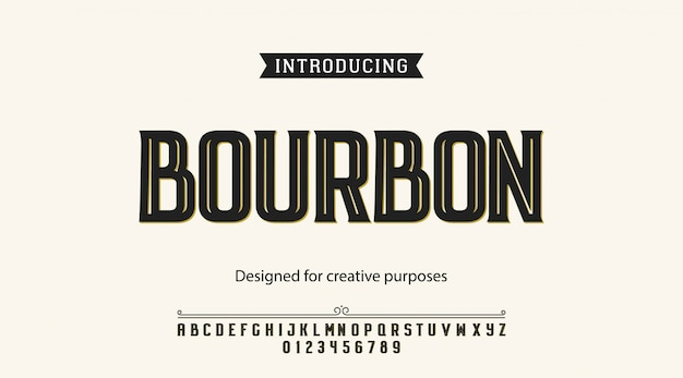 Bourbon-schrift. für etiketten und verschiedene schriftarten Premium Vektoren