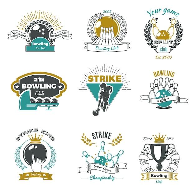 Bowling clubs vintage style logos Kostenlosen Vektoren