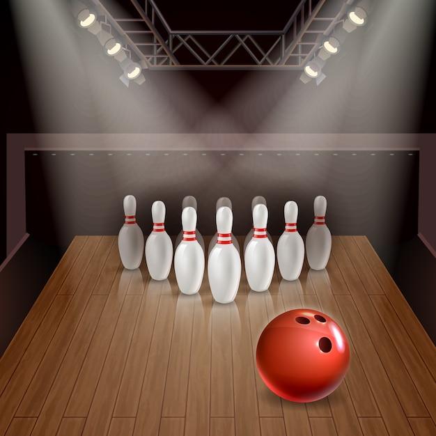 Bowlingbahn mit herausgestellten kegeln und rotem ball unter illustration der scheinwerfer 3d Kostenlosen Vektoren