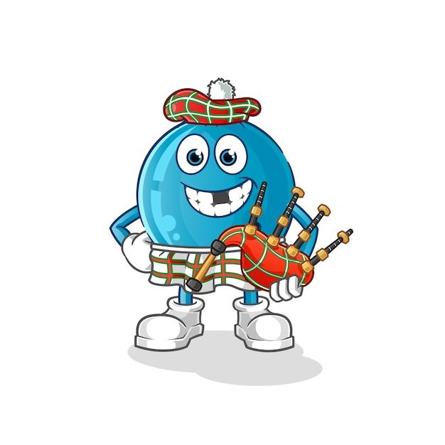 Bowlingkugel schottisch mit dudelsack. zeichentrickfigur Premium Vektoren