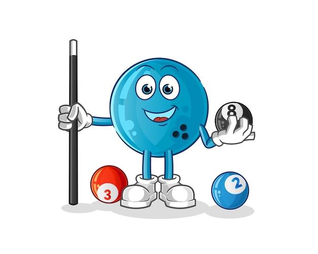 Bowlingkugel spielt billardcharakter. cartoon maskottchen Premium Vektoren