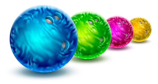 Bowlingkugeln lokalisiert mit farbmarmorbeschaffenheit. Premium Vektoren