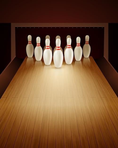 Bowlingspiel-realistische illustration Kostenlosen Vektoren