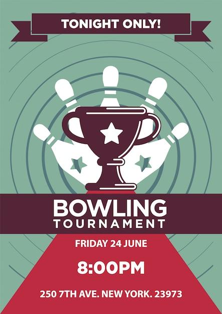 Bowlingturnier plakat vorlage. Premium Vektoren