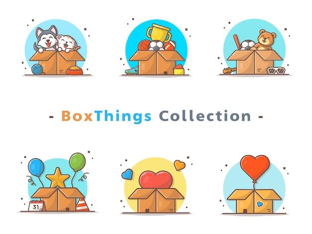 Box-dinge-auflistung Premium Vektoren