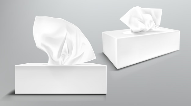 Box mit weißen papierservietten vorne und winkelansicht. vector realistisches modell des leeren kartonpakets mit den isolierten gesichtstüchern oder taschentüchern Kostenlosen Vektoren