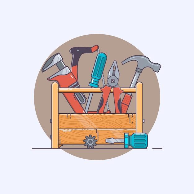 Box mit Werkzeugen. Zange und Hammer, Schraubendreher und ...