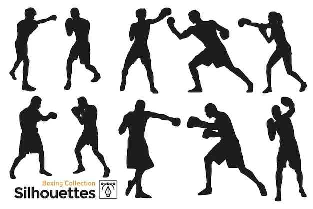 Box-silhouetten. boxertraining. isolierte silhouetten. spieler, die sport treiben. Premium Vektoren