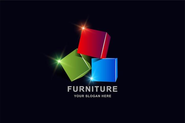 Box square logo design vorlage Premium Vektoren