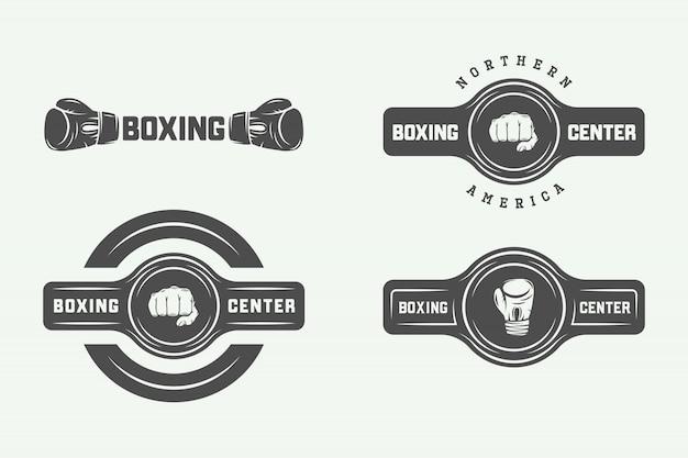 Box- und kampfsport-logo-abzeichen Premium Vektoren