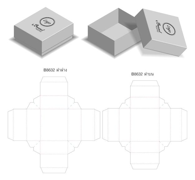 Box-verpackung gestanzt vorlage design. 3d-modell Premium Vektoren