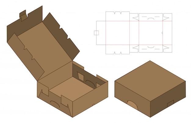 Box verpackung vorgestanzte template-design. 3d Premium Vektoren