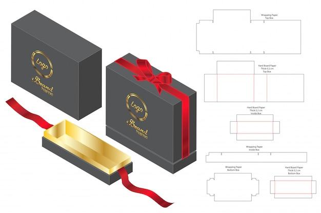 Box verpackung vorgestanzte template-design. Premium Vektoren