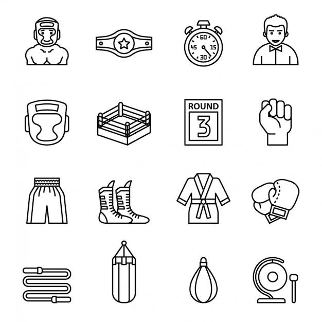 Boxen und kämpfende ikonen eingestellt mit weißem hintergrund. Premium Vektoren